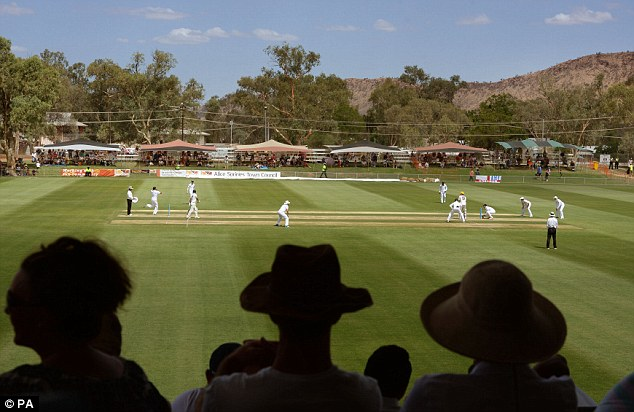 General view as England's Monty Panesar bowls during the tour match at Traeger Park, Alice Springs, Australia.