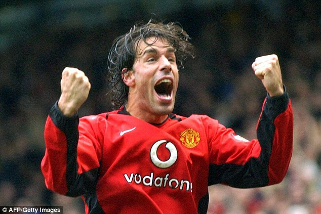 Celebrated: Ruud van Nistelrooy, formerly of Manchester United, was another to develop under the coach