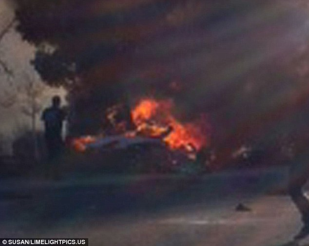 Blaze: Paul Walker was a passenger in a Porsche on Saturday when he lost his life after the sportscar crashed and turned into a fireball