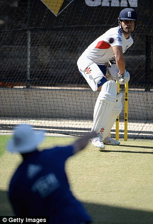 Practice: Cook faces throwdowns in the nets from batting coach Gooch at the Adelaide Oval