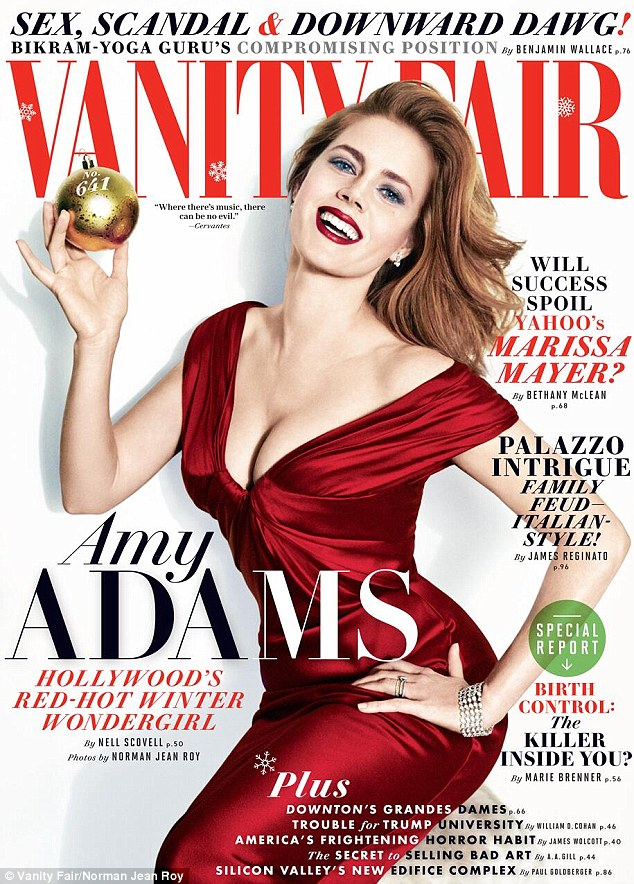 Red-hot: Amy Adams made the January 2014 cover of Vanity Fair, in which she confessed she is not pregnant and is not getting married anytime soon