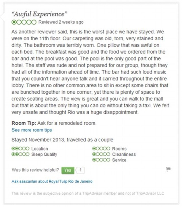 Thumbs down: A review of the Royal Tulip Hotel on the Tripadvisor website
