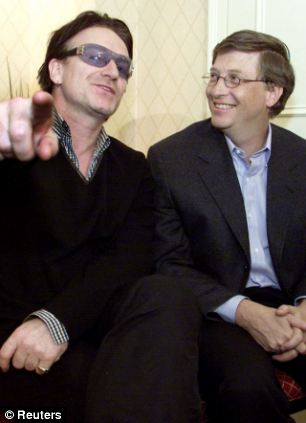 Supporters: The Global Fund's backers include Bill Gates, right, and U2 singer Bono, left