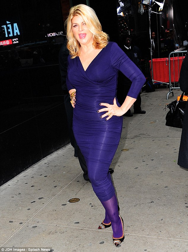 Who's the blonde bombshell: Kirstie Alley showcased her slimmed down figure and gorgeously blonde 'do on the way to Good Morning America on Monday in New York City