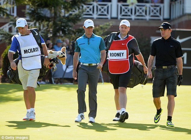 Wayne Rooney and Rory McIlroy during a Nike commercial shoot