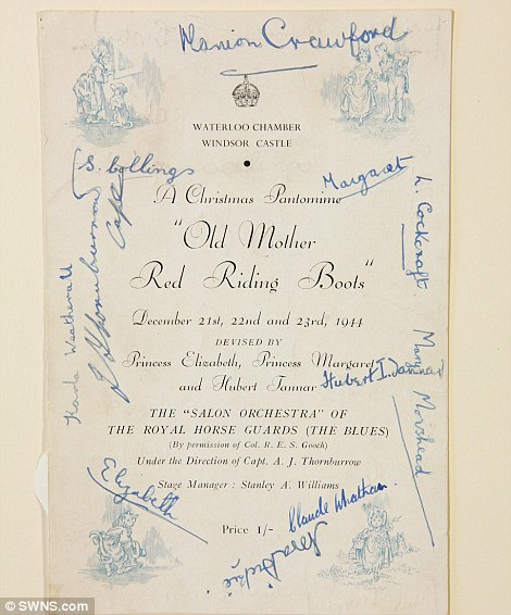 A signed program by Princess Elizabeth and Princess Margaret for the play Old Mother Red Riding Boots, 1944