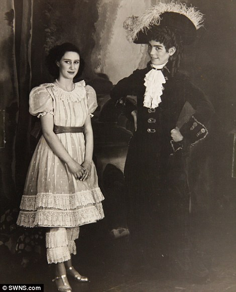 Collect photograph of Princess Margaret and Cyril Woods in the play Old Mother Red Riding Boots, 1944