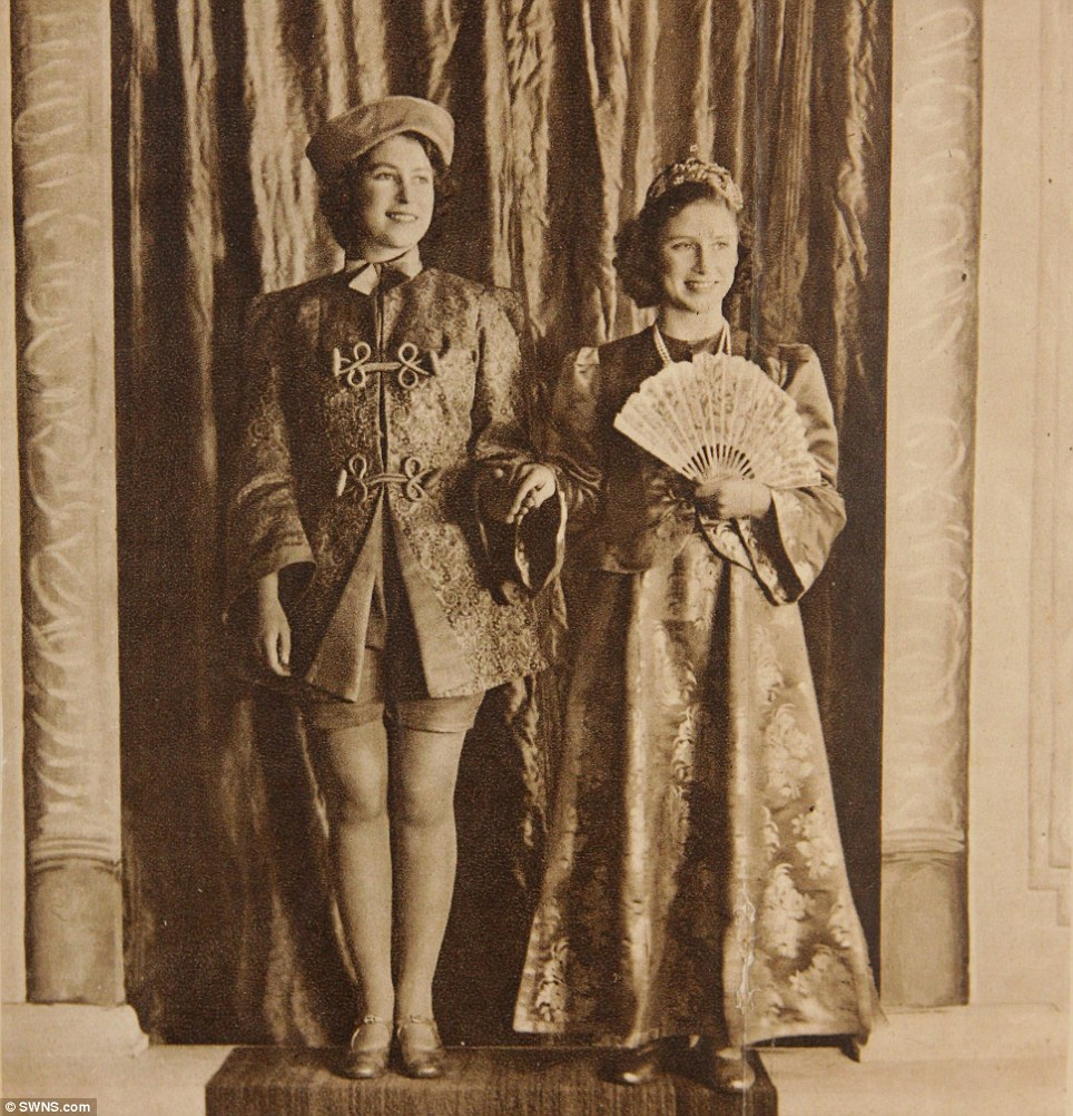 Third royal performance: Pricesses Margaret and Elizabeth in the 1943 play Aladdin in Windsor, Berkshire