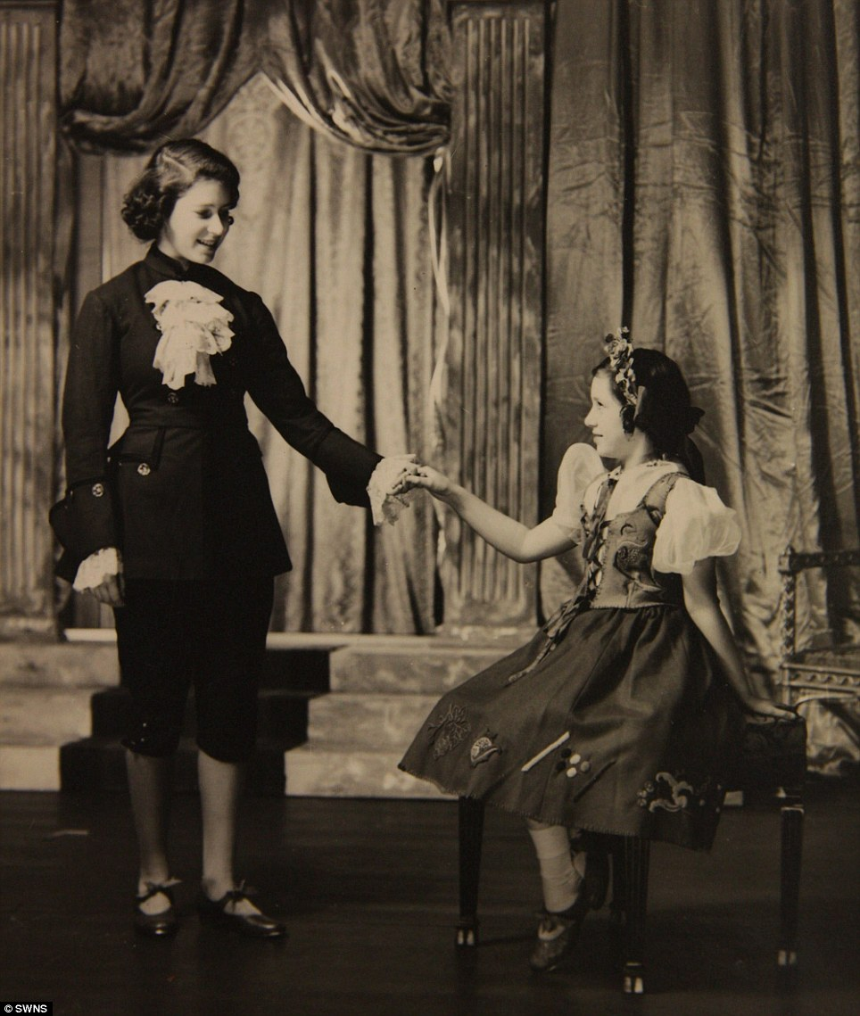 Royal show: Princess Margaret (right) and Princess Elizabeth (left) performing in the play Cindarella in 1941 at the Royal School in Windsor