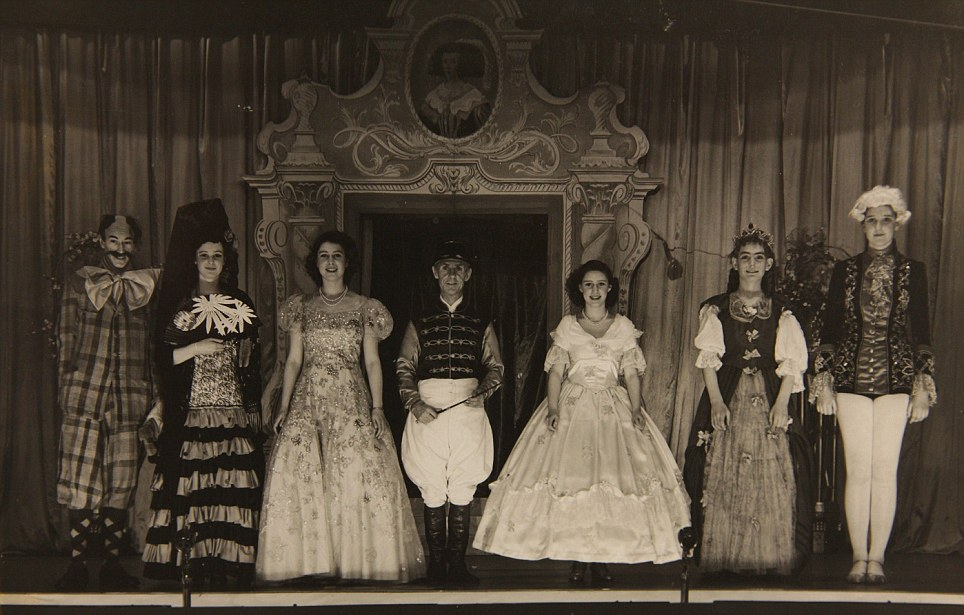 Leading roles: Princess Elizabeth (middle left) and Princess Margaret (middle right) in the play Old Mother Red Riding Boots, 1944, at the Royal School, Windsor, which was the last of their four annual performances