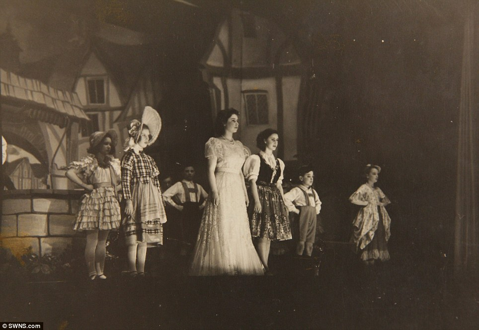 Later performance: Princess Elizabeth (middle) and Princess Margaret (right) in the play Old Mother Red Riding Boots, 1944, at the Royal School, Windsor