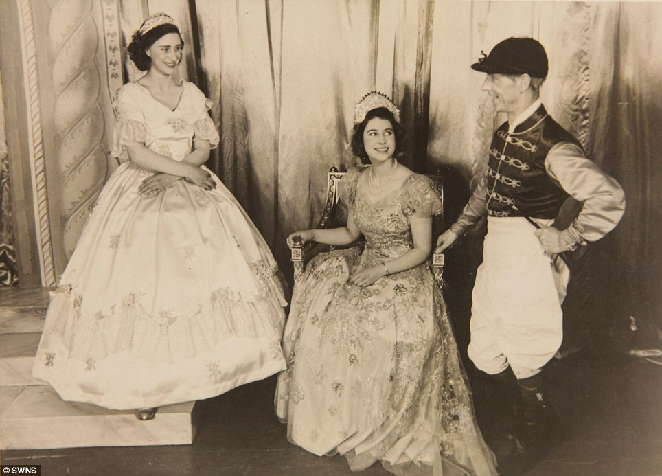 Royal stars: Princess Elizabeth (right) and Princess Margaret (left) in the play Old Mother Red Riding Boots, 1944, at the Royal School, Windsor