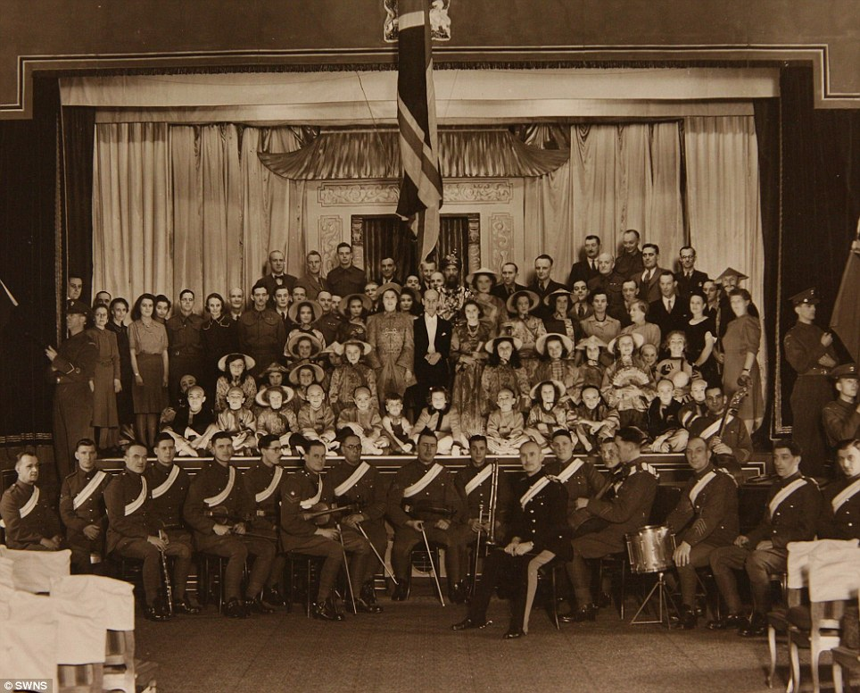 Cast: A photo of everyone involved in the play Aladdin, in 1943, at the Royal School, Windsor