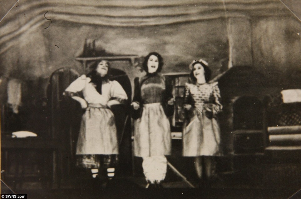 Stage show: Princess Margaret (right) and Princess Elizabeth (centre) are seen in another photo from Aladdin