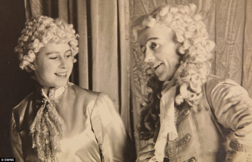 Christmas panto: A young Princess Elizabeth (left) stars in the play Cinderella in 1941 at the Royal School, Windsor. The pictures are going up for sale at Dominic Winter auctioneers in Gloucestershire