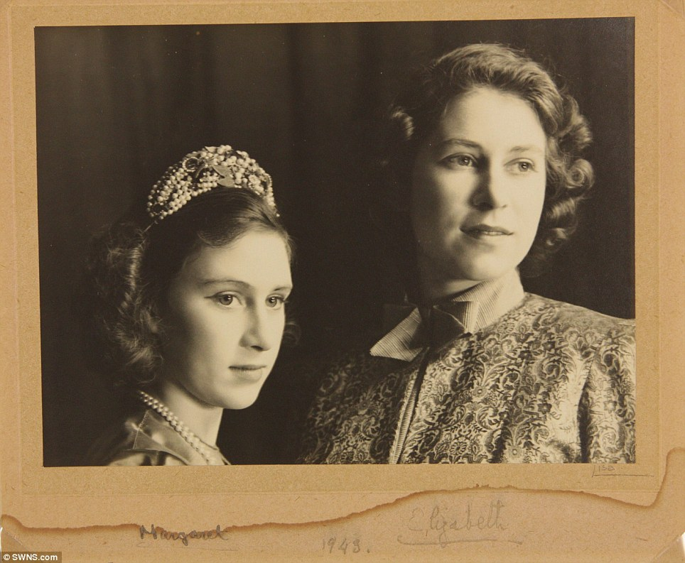 Memorabilia: A signed picture of Princess Margaret (left) and Princess Elizabeth (right) from the play Aladdin in 1943