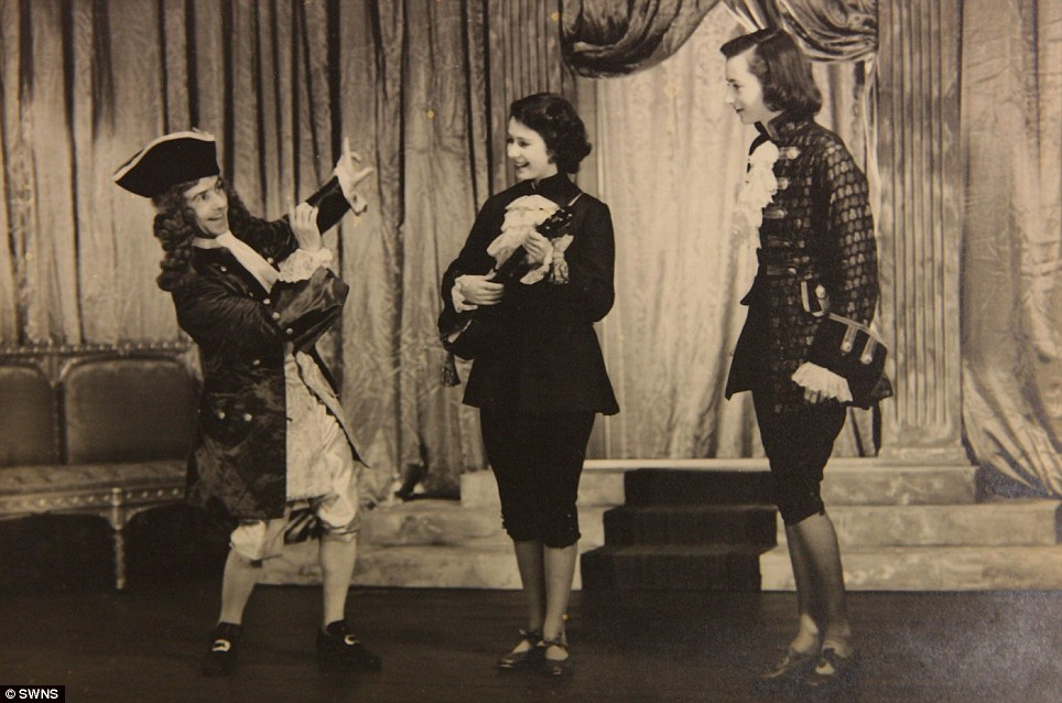 Royal show: Princess Elizabeth (centre) is seen performing in Aladdin in 1943