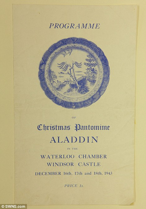 Program featuring Princess Margaret and Princess Elizabeth in the play Aladdin, 1943, at the Royal School, Windsor
