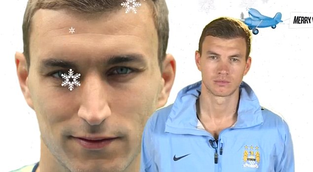 5. Look familiar? Dzeko recognises his own hairline in this picture, but whose face is pasted over his own?