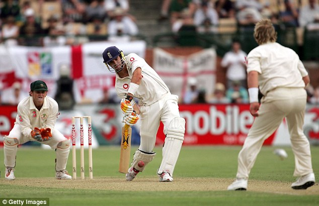 On the attack: Pietersen scored a century during England's defeat to Australia in 2006 at the Adelaide Oval