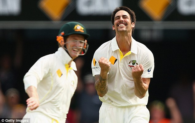 Hair-raising contribution: Australia bowler Mitchell Johnson, sporting a moustache, was in unplayable form during the first Ashes Test in Brisbane