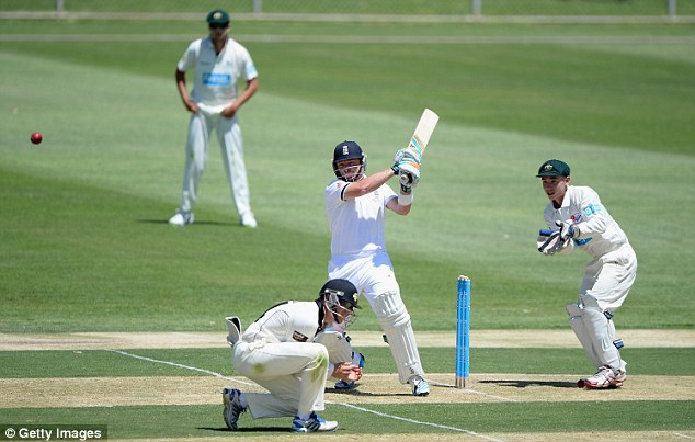 Established star: Ian Bell, seen here batting against the Chairman's XI, has to start getting runs if England are to have any hope of winning the Ashes
