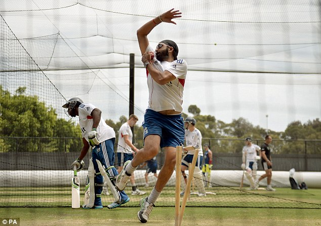 Extra bowling option: England spinner Monty Panesar works on his game in the nets