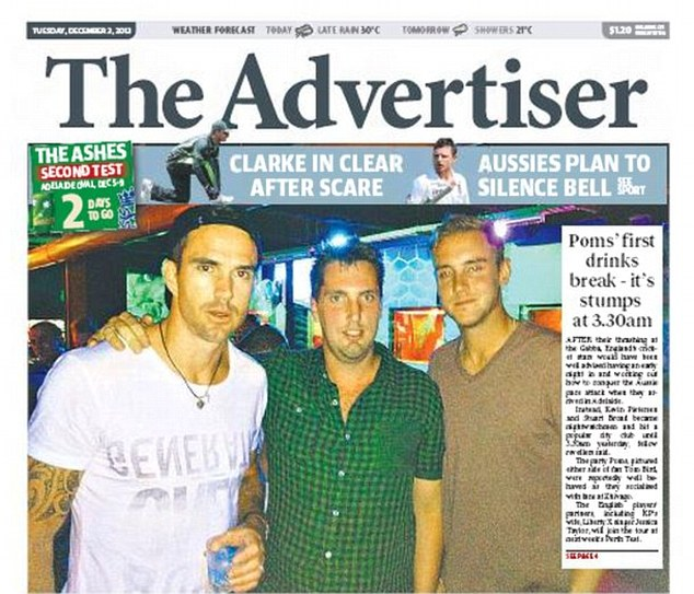 Front page news: Pietersen (left) and Broad (right) are pictured in the Adelaide Advertiser on a night out