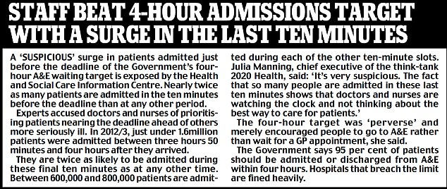 Staff beat 4-hour admissions target with a surge in the last ten minutes