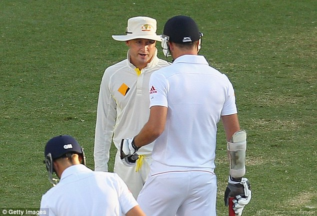 Eyeballing: Clarke was fined 20 per cent of his match fee for threatening Anderson with a broken arm