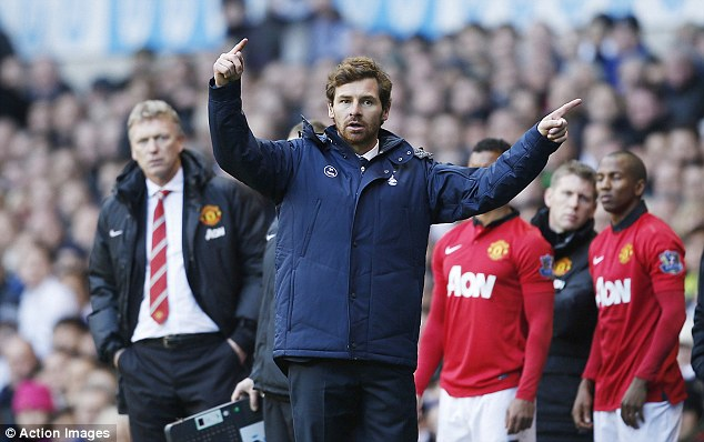 Hitting out: Andre Villas-Boas saw Spurs bounce back from their 6-0 thrashing by Manchester City with a 2-2 draw at Manchester United