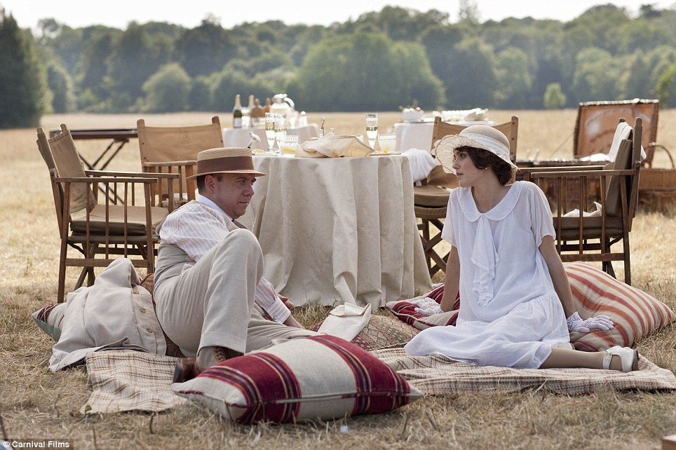 Summer love: Is Cora's playboy brother Harold trying to woo Madeline (Poppy Drayton), daughter of Lord Aysgarth (James Fox)?