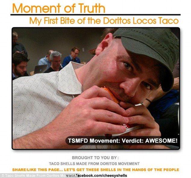 Moment of truth: Todd Mills was invited to Taco Bell's California headquarters to be one of the first to taste the Doritos Locos Tacos - which he conceived of in 2009 while watching television
