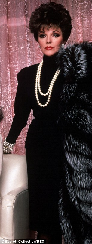 Then and now: Joan's fashion choices on Tuesday evening, particularly her shoulder pads, would not have been lost on her iconic Dynasty character, Alexis Carrington Colby