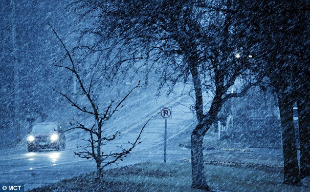 Snow falls on Monday afternoon in Shoreview, Minnesota as a storm hit 24 states