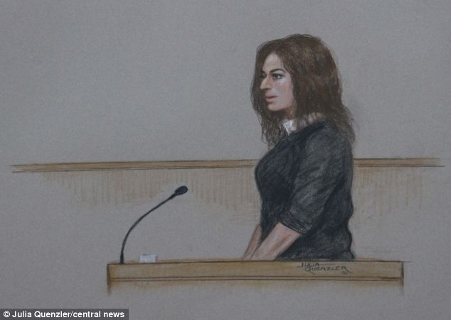 Evidence: The TV chef, shown in a court sketch, told Isleworth Crown Court that Mr Saatchi had 'told everyone' he was taking cocaine out of her nose in the photographs of their row