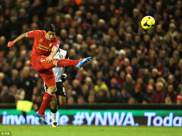 Screamer: Luis Suarez opens the scoring at Anfield against Norwich with a stunning volley from 40-yards