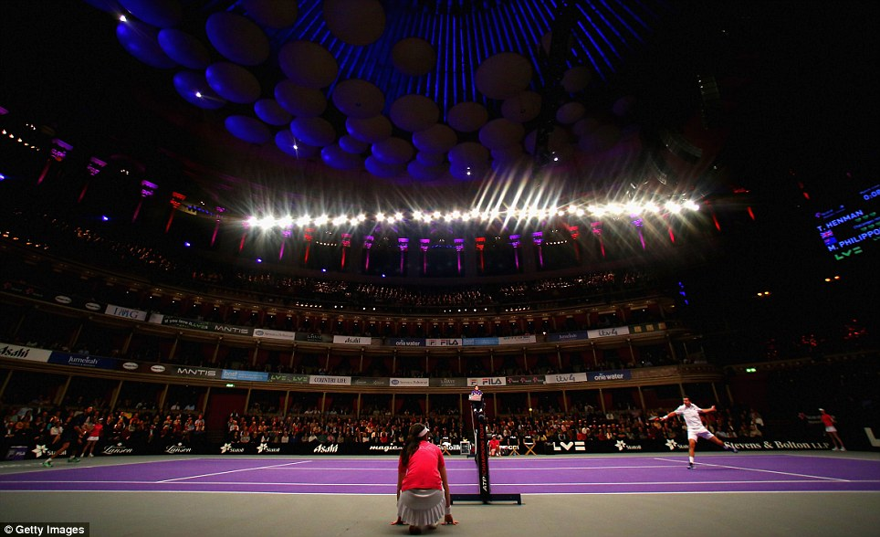 Tim Henman in action against Mark Phillippoussis at the Royal Albert Hall in the  Statoli Masters. The Australian withdrew when he was trailing 5-4