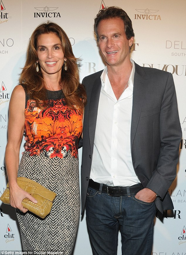 Cindy Crawford and Rande Gerber attend DuJour Magazine's event to honor artist Marc Quinn at Delano Beach Club