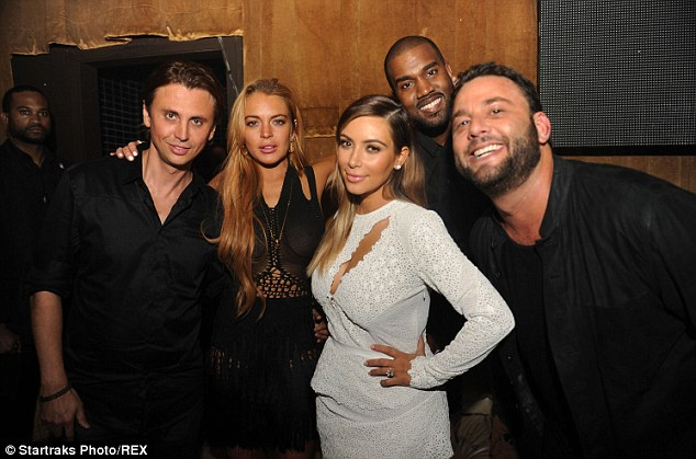 Say cheese! At one point the pair posed with Kim's fiance Kanye West and her best friend Jonathan Cheban for a group shot