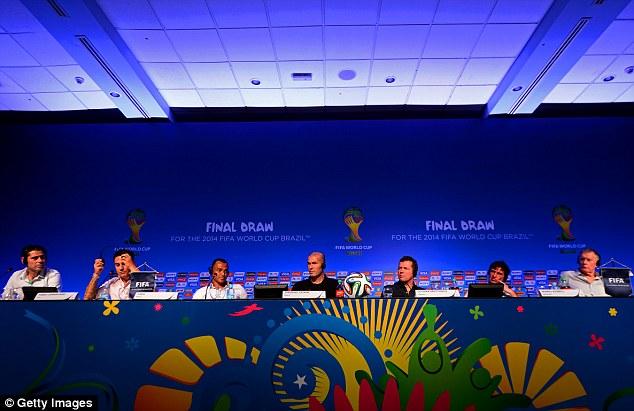 Supporting cast: Fernando Hierro, Fabio Cannavaro, Cafu, Zinedine Zidane, Lothar Matthaus, Mario Kempes and Sir Geoff Hurst are all present for the draw