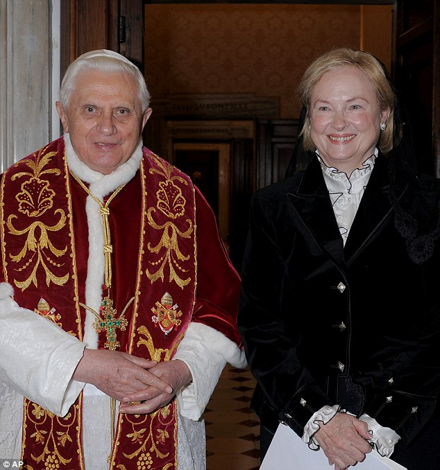 Friends in high places: Lev is the daughter of former U.S. Ambassador to the Holy See Mary Ann Glendon, pictured here in 2008 with then-Pope Benedict XVI