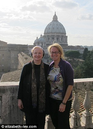 Trailblazer: Glendon (left), pictured in Rome with her daughter, is currently one of the highest-ranking women at the Vatican as president of the Pontifical Academy for Social Sciences
