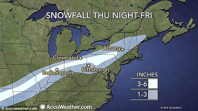 Snowy stretch: The belt of snow at the edge of Cleon will blanket areas of the U.S. stretching from Maine all the way to North Texas by Friday