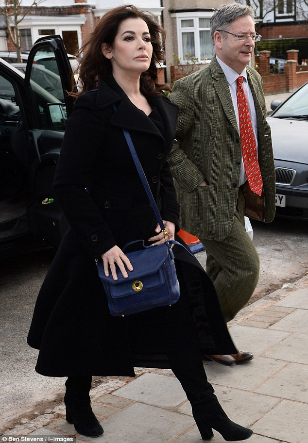 Testimony: Nigella Lawson arrives at court this morning to continue giving evidence against her two former PAs. Yesterday she revealed she took cocaine