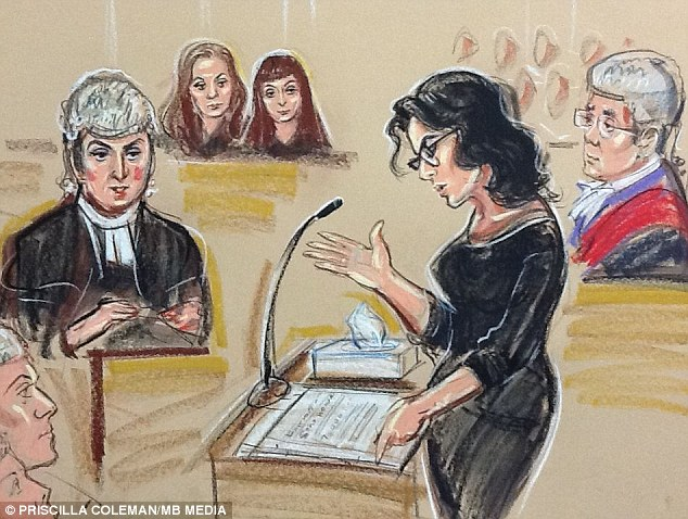 Testimony: Nigella Lawson is questioned by Karina Arden, defending, as sisters Elisabetta and Francesca Grillo watch from the dock