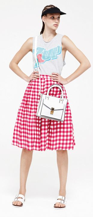 Top £6 March, skirt £12, bag £6, shoe £13, hat £1.50