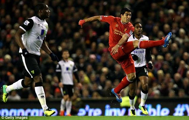 Goal machine: Suarez now has 13 goals from his nine Premier League games this season