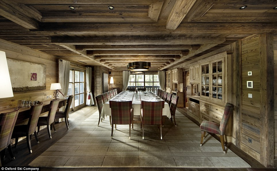 Fine dining: The chalet comes complete with two private chefs, ready to rustle up foodie favourites, and two butlers to serve it