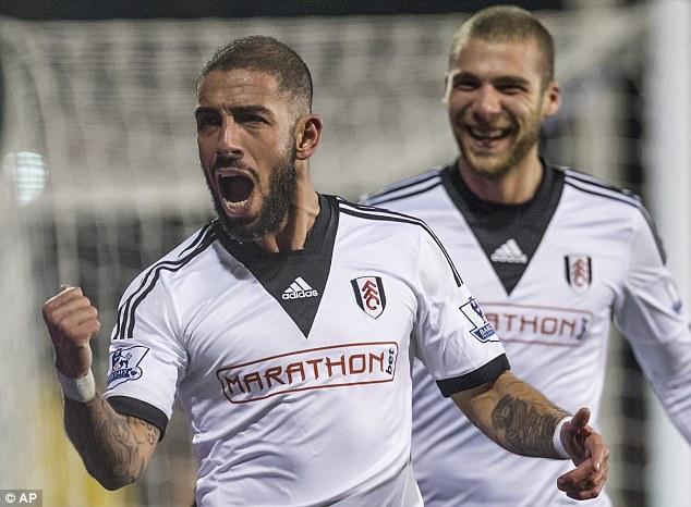 Making a name for himself: Fulham's Iran international Ashkan Dejagah, celebrates his goal against Spurs